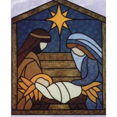 The Virginia Quilter - Quilting Patterns - Designs by Edna Quilt Patterns - Stained Glass Manger Scene Quilt Pattern                                                                                                                                                                                 Más