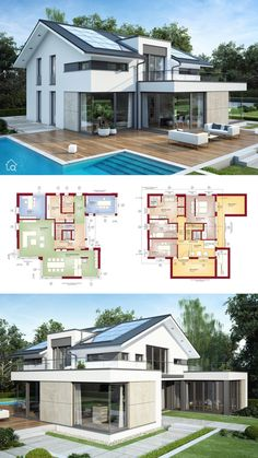 Detached house architecture modern with gable roof & pool terrace, floor plan open, 6 rooms, 260 sqm with elevator, gallery & air space – turnkey prefabricated house build ideas house plans Bien Zenker CONCEPT-M 211 Mannheim – HausbauDirekt. Model Architecture, Architecture Design Concept, Modern Architecture House, Layouts Casa, House Layouts, Modern House Plans, Modern House Design, House Plans With Pool, Design Exterior