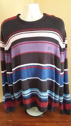 CHAPS Mens 100% Cotton Horizontal Stripes Multi Long Sleeve Sweater Size XL #Chaps #Crewneck