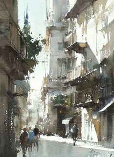 水彩画家 Chien Chung-Wei(简忠威)绘画作品