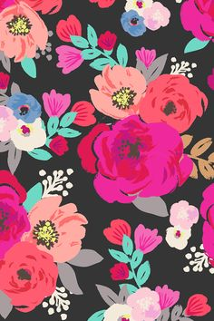 Sweet Pea Floral Black by crystal_walen.  Bold bright flowers on a dark background with turquoise petals.  Available on fabric, wallpaper, and gift wrap.