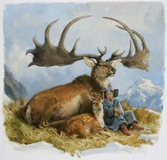 the irish elk was 7 feet tall at the shoulders, and had an antler-span of 12 feet. beauty. -image from dinotopia by james gurney.