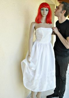 Vintage 50's cotton eyelet tea length wedding dress $200