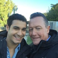 Elyes Gabel and Robert Patrick on the set of Scorpion