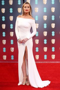 Laura Whitmore in an off-the-shoulder white dress - click ahead for more best dressed at the 2017 BAFTA awards