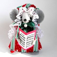 Christmas Ornament Caroling Mouse Felt Mice Collectible for Animal Lovers Red and Green. $15.00, via Etsy. http://www.etsy.com/treasury/NTM5ODkzNXwyNzIzNzQ0NjUw/not-even-a-mouse