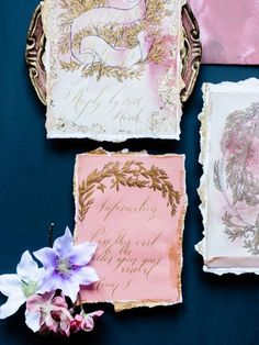 Fine art, luxury hand painted creative wedding stationery with renaissance, baroque style design with gold leaves and gold calligraphy Blush Wedding Stationery, Luxury Wedding Invitations, Dusky Pink Weddings, Romantic Weddings, Sophisticated Wedding, Elegant, European Wedding, Gold Calligraphy, Wedding Inspiration