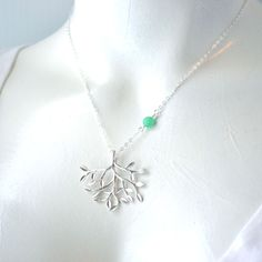 Rhodium Plated Branch, Hemimorphite, and Sterling Silver Chain Necklace, by Mo' Funk Designs.