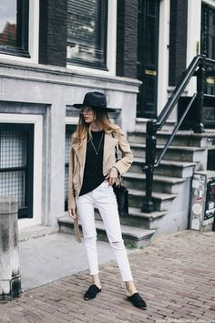 Perfect off duty style featuring taupe suede jacket and white cropped jeans with flat mules