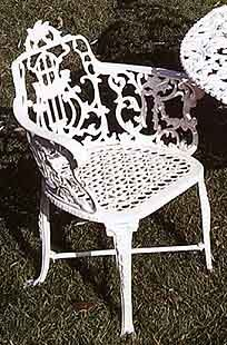 Garden And Patio Furniture, Cast Aluminum Garden Furniture Rose Dining Chair.  Suitable For Indoor