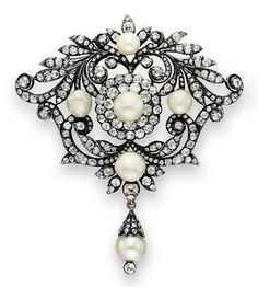 AN ANTIQUE DIAMOND AND PEARL BROOCH   Designed as an openwork old European and old mine-cut diamond foliate plaque, set at the center and cardinal points with five pearls, measuring from approximately 10.60 x 10.35 to 8.25 x 7.95 mm, suspending an articulated pearl pendant, measuring approximately 10.60 x 10.70 mm, decorated with an old European-cut diamond cap, with a collet-set old European diamond terminal, mounted in silver-topped gold, circa 1860