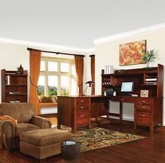 Amish Made Wood Furniture Set: Desk/Bookcase Suite & Optional Hutch Upscale and professional office set that will make work so much more comfortable.