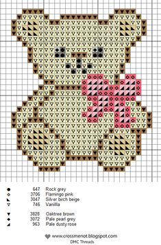 Cute Teddy Bear Cross Stitch Chart or Hama Perler Bead Pattern