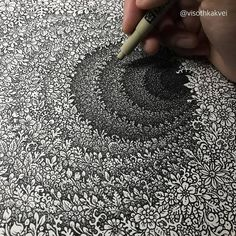 Sketbook Drawing - 75 Picture Ideas - Art World Mandala Art, Mandala Drawing, Pencil Art Drawings, Art Sketches, Zentangle Patterns, Zentangles, Zen Art, Doodle Art, Art Sketchbook