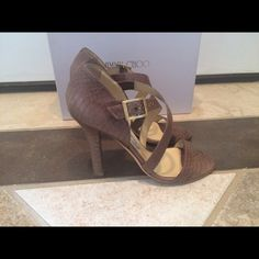 ⚡️SALE⚡️Jimmy Choo Elaphe Snakeskin sandal size 38 Beautiful Authentic Jimmy Choo Elaphe  snakeskin strappy stiletto EUC only worn 2-3 times in great condition. Color is brown. These are gorgeous in person and retail for over $1000. Box is included. Open to offers let me know if you have any questions. Jimmy Choo Shoes Heels