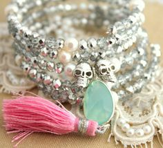 Boho Hippie chic Bracelet Mint,gray,pink,white,silver , Pearls gray crystals green gemstone and skulls hand made -  fun summer bracelet.