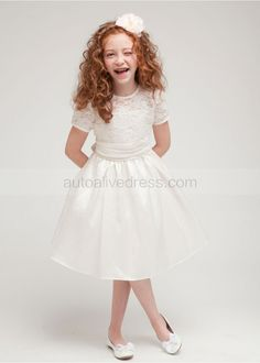 A-line Sheer Neck Taffeta Knee Length Flower Girl Dress With Folded Sash