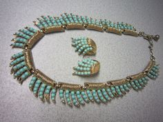 Vintage CROWN TRIFARI NECKLACE & EARRINGS SET-Faux Turquoise-Needs Some TLC! #CrownTrifari
