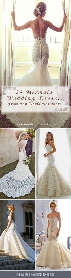 24 Mermaid Wedding Dresses From Top World Designers ❤ Mermaid wedding dresses are a must have for brides that have the desire to feel sexy and elegant on her wedding day. See more: http://www.weddingforward.com/mermaid-wedding-dresses/ #wedding #dresses #mermaid