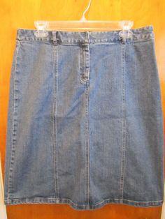 Geoffrey Beene Sport Womens Size 12 Knee Length ALine Denim Skirt Modest #GeoffreyBeene #ALine #freeshipping