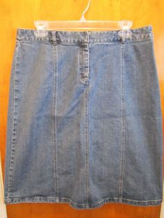 KATE HILL Casual Denim Skirt SIZE 10 Fit Flare Mid Calf MODEST ...