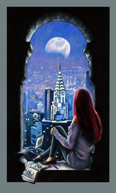Clary enjoying the view from the New York Institute on a night off from Shadowhunting. Her sketch book is never far from her side. Jace must be off on a mission Some more fan art for th...