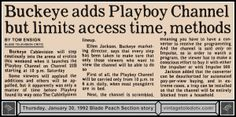 Vintage Toledo TV - Random Pages - Tom Ensign story (Thu 1/30/92 Blade Peach Section) #Playboy