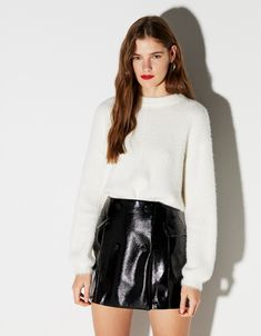 e5634a3c216f Vinyl mini skirt - Bershka  bershka  newin  trends  outfits  look  moda   fashion  skirt  falda  woman  style  stylish  miniskirt  minifalda   leather  cuero ...