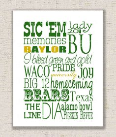 Baylor Bears Subway Print Poster Digital Green Gold by girlsatplay. $15.00, via Etsy.