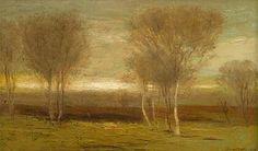 John Francis Murphy, American Tonalist, Evening Landscape, oil on canvas, 12 x 20 1/4