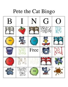 Bingo -key admin boy words- for January if we choose Pete the Cat as one our Literacy Month books Bingo, Preschool Literacy, Preschool Activities, Kindergarten, Pete The Cats, Cat Activity, Cat Birthday, Birthday Parties, Cat Party