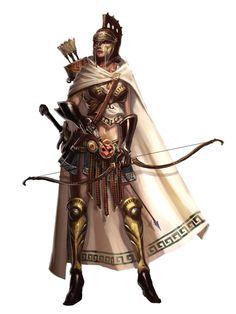 Female Human Archer Fighter - Pathfinder PFRPG DND D&D 3.5 5th ed d20 fantasy