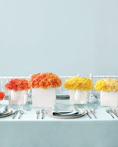 "See the ""Orange and Yellow Centerpieces"" in our Modern Wedding Centerpieces gallery Orange Wedding Centerpieces, Carnation Centerpieces, Orange Wedding Flowers, Bridal Shower Centerpieces, Diy Centerpieces, Floral Wedding, Wedding Colors, Wedding Decorations, Pumpkin Centerpieces"