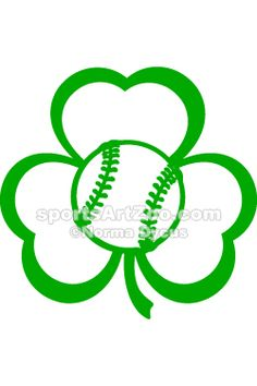 St. Patrick's Day Baseball Three Leaf Clover Design by Sports Art Zoo