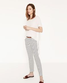 ZARA - WOMAN - STRIPED TROUSERS WITH BELT