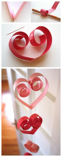 Curling the inside ends of a paper heart give this garland a fancy touch - perfect for Valentine's Day! Valentines Day Party, Valentine Day Crafts, Holiday Crafts, Holiday Fun, Heart Decorations, Valentine Decorations, Saint Valentine, Be My Valentine, Diy Arts And Crafts