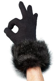 Black Fox Faux Fur Trimmed Knit Gloves fabulousfurs.com #fabulousfurs