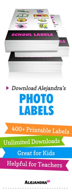 Make labeling your organizing systems easier and more fun with photo labels! Instantly download and print 400+ Photo Labels designed by Alejandra. As seen on HGTV's Clean Freaks. From https://www.alejandra.tv/shop/printable-home-organizing-photo-labels/?utm_source=Pinterest&utm_medium=Pin&utm_content=PhotoLabels&utm_campaign=TopProducts/