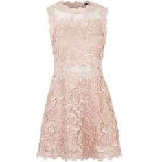 TOPSHOP Structured Lace Skater Dress ($100) ❤ liked on Polyvore featuring dresses, vestidos, short dresses, topshop, nude, lace dress, short pink dress, pink fit and flare dress and mini dress