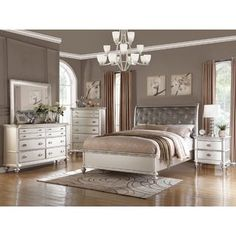 Celine 5 piece Mirrored and Upholstered Tufted Queen size Bedroom Set  GreyCoaster Furniture Bling Game 4pc Button Tufted Bedroom Set in  . Grey Tufted Bedroom Set. Home Design Ideas