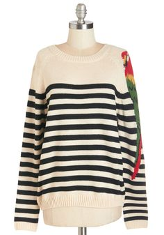 Parrot-y Artist Sweater. Showcase your high-flying style in this charming oatmeal-hued sweater!  #modcloth