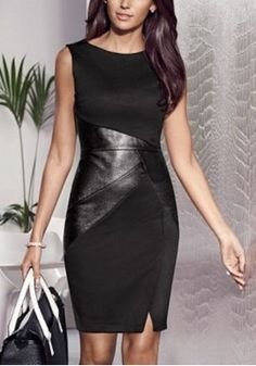 American Big Hit Color Stitching Leather Office Lady Slim Pencil Tight Bodycon Dress Sleeveless Knee-Length Dress