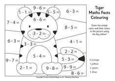 Tiger maths facts colouring page