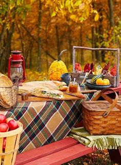 Another #autumn #picnic vignette; I'm a sucker for the wool plaids.