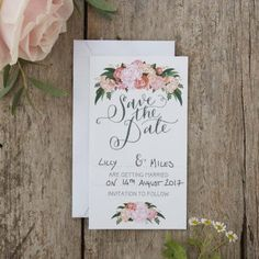 These Ginger Ray Floral Boho Wedding Save The Date Cards feature floral designs and a 'Save The Date' headline. Friends and family will be excited for your special day when you send out these floral save the date cards! Diy Save The Date, Floral Wedding Save The Dates, Unique Save The Dates, Save The Date Cards, Wedding Paper, Boho Wedding, Wedding Cards, Rustic Wedding, Red Wedding