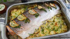 Helstekt laks med sitron, urter og potetskiver Fish And Seafood, Fresh Rolls, Recipies, Dinner, Ethnic Recipes, Recipe, Recipes, Rezepte, Suppers
