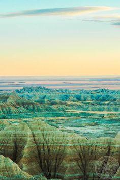 The Badlands of South Dakota at dusk