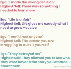The ego loves a good story. It will create them all day long. If you start to observe the ego, you'll see it creates stories based on… Cognitive Therapy, Mental And Emotional Health, Word Of Advice, Emotional Intelligence, Self Improvement, Self Help, Time Management, Affirmations, Psychology