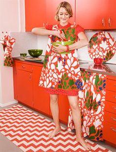 Color Explosion via Design*Sponge! Fun textiles from Brita Sweden Scandinavian Living, Scandinavian Furniture, Scandinavian Design, Cute Kitchen, Vintage Kitchen, Kitchen Decor, Kitchen Mat, Domestic Goddess, Orange You Glad