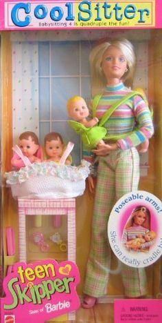 Barbie Cool Sitter TEEN SKIPPER Doll w 4 Babies Quadruple the Babysitting Fun (1998) by Mattel, http://www.amazon.com/dp/B00362BF7Q/ref=cm_sw_r_pi_dp_pliMqb1NPWH59